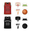basketball and attributes cartoonblack icons in vector image vector image