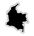black silhouette of the country colombia with the vector image vector image
