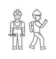 builder man thin line icon concept builder man vector image vector image