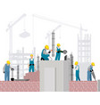 builders on a construction site vector image
