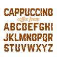 cappuccino coffee foam art alphabet vector image vector image