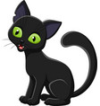 cartoon black cat isolated on white background vector image vector image