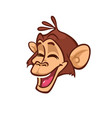 cartoon monkey head smiling vector image vector image