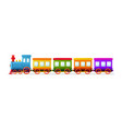 cartoon toy train with color wagons on white vector image vector image