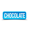 chocolate blue 3d realistic square isolated button vector image
