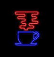 coffee cup with steam neon sign bright glowing vector image