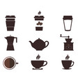 coffee cups and pots coffee pot and cup vector image vector image