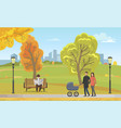 couple pram walking autumn park together vector image vector image