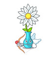cupid vase with bouquet of beautiful cartoon vector image