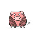 cute piggy for your design vector image