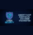 cyber security glowing neon sign with alphabet vector image vector image