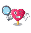 detective heart character ice cream on candy vector image