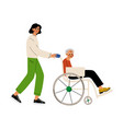 disabled elderly woman in wheelchair male vector image