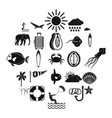 dive icons set simple style vector image vector image