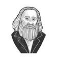 dmitri mendeleev sketch vector image