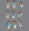 doctor asian female set vector image vector image