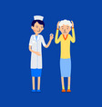 doctor or nurse gives pill to an elderly woman vector image vector image
