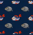 fat cat and fish seamless pattern vector image vector image