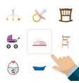flat icon baby set of mobile tissue pinafore and vector image vector image
