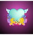 floral frame with heart shape vector image vector image
