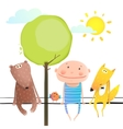 Friendly animals and kid cute funny friends vector image vector image
