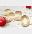 gold foil paper number 2020 on surface vector image
