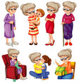 grandmother doing different things on white vector image vector image