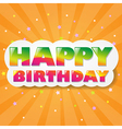 Happy Birthday Cloud With Orange Sunburst vector image vector image