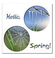hello spring greeting card template with icicles vector image vector image