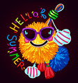 hello summer print on a dark background vector image