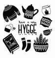 hygge concept with black and white hand lettering vector image vector image