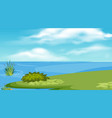 landscape background design with lake and green vector image vector image