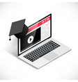 laptop with graduation cap vector image vector image