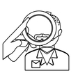 magnifying glass over man investigation icon image vector image