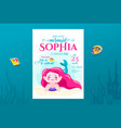 mermaid birthday cute invite card design vector image vector image