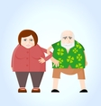 Old couple holding hands vector image
