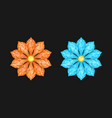 orange and light blue diamond flower vector image
