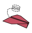 paper plane flying model line dotted vector image
