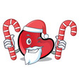 santa with candy candy moon mascot cartoon vector image
