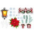 set of christmas xmas engraved objects vector image vector image