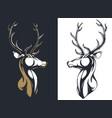 silhouette stag buck elk deer head antlers vector image vector image