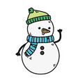 snowman with hat and scarf decoration merry vector image