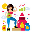 sports nutrition and girl flat style vector image