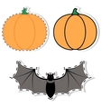 sticker pumpkin and bat vector image vector image