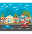 Urban Cityscape with Shops Active People and Cars vector image