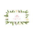 watercolor christmas banner with green pine vector image vector image