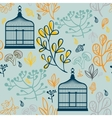 Autumn seamless pattern with vintage birdcages vector image