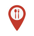 map marker location with fork and spoon vector image