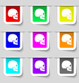 Skull icon sign Set of multicolored modern labels vector image