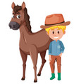 a young farmer and horse vector image